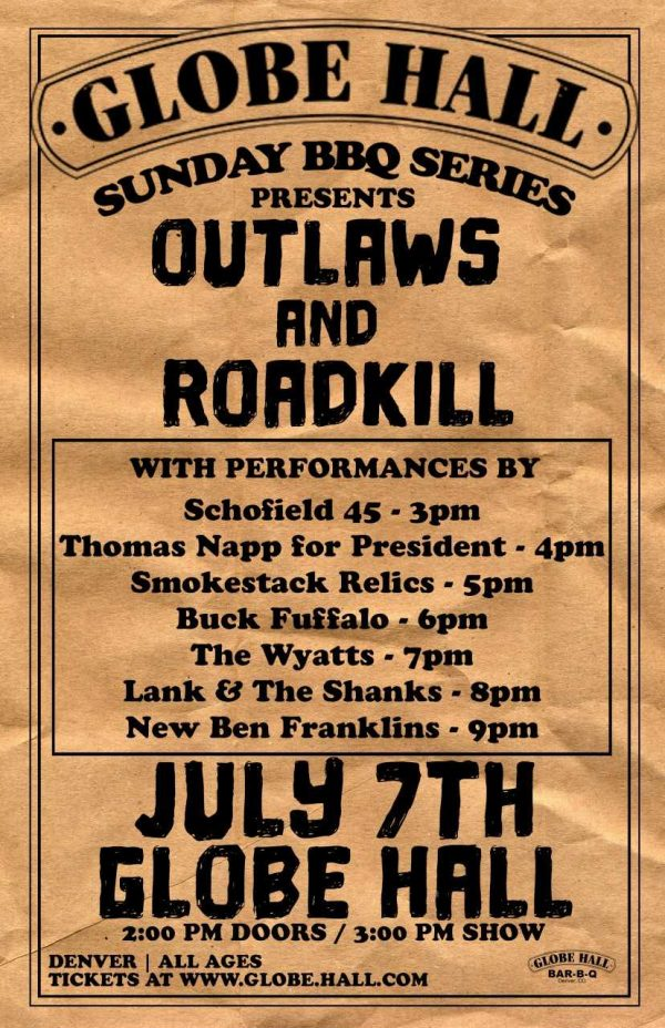 Globe Hall – BBQ and rock! Outlaws and Roadkill show!